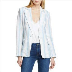 Frame blue linen blazer striped NWT